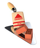 Bricks and building tools. Bricks with a bag of cement and a big trowel, concept of construction site (3d render Royalty Free Stock Photos