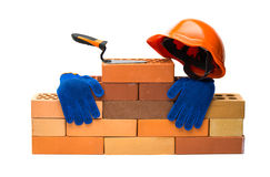 Bricks Building tools. On a white background Royalty Free Stock Image
