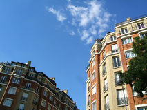 Bricks buildings in the sky. Parisian bricks buildings with blue background royalty free stock images