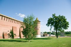 Bricks citadel in Russia. Bricks citadel and trees in Russia, summer day, Kolomna town Stock Photography