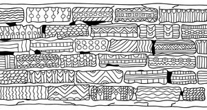 Bricks. Coloring book for adults. Zentangle style. Tribal design element. Monochrom pattern for coloring book for adults and kids Stock Photo