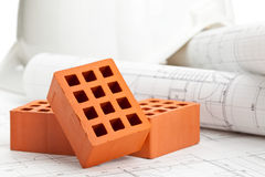Bricks on construction plan Stock Image
