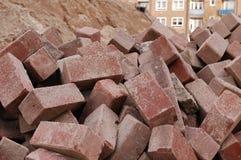 Bricks at a construction site. Bricks on a construction site Royalty Free Stock Photos