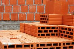 Bricks at construction site Stock Image