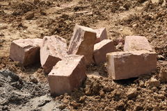 Bricks at a construction site Stock Photo