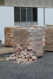 Bricks on construction works Royalty Free Stock Images
