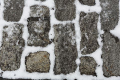 Bricks covered with snow stock image