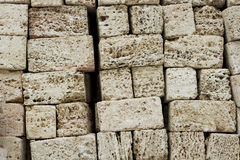 Bricks of covering tufa. Bricks texture of covering tufa building material Royalty Free Stock Photos