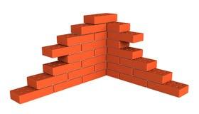 Bricks. 3d render of bricks masonry isolated over white background Stock Image