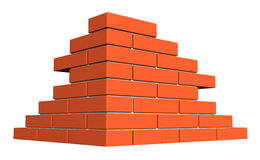 Bricks. 3d render of bricks masonry isolated over white background Royalty Free Stock Image