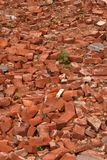 Bricks in a Demolished Pile Stock Photo