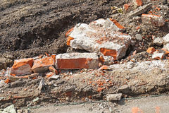 Bricks at the demolition of an old building royalty free stock image