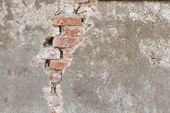 Bricks detail. Crack on a very old house Stock Photos