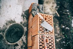 details, construction site tools and bricklayer construction site royalty free stock photography