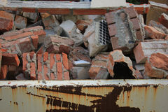 Bricks in a dumpster Stock Photo