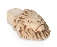 Bricks in the form of a lion on a white background Royalty Free Stock Photo