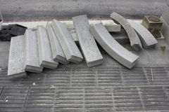 Bricks. Grey /white black blocks on street Royalty Free Stock Images