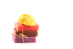 Bricks of handmade soap with natural sea sponge. SPA concept. Stock Photo