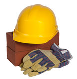 Bricks ,hard hat and gloves Stock Photo