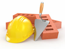 Bricks, hardhat and trowel. 3d. Bricks, hardhat and trowel on white background. 3d Royalty Free Stock Photos