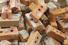 Bricks heap red masonry structure ruin demolition royalty free stock image