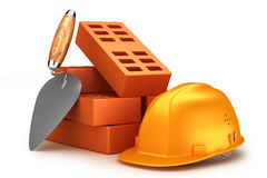 Bricks, helmet and trowel. On white background. Concept Royalty Free Stock Image