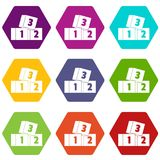 Bricks icon set color hexahedron Stock Photo