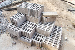 Bricks made of concrete for building of houses and fences Stock Images