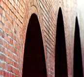 Bricks made wall unique stock photograph. The beautiful red bricks made protection wall with nice dark gaps stock photograph Royalty Free Stock Photo