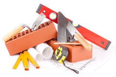 Bricks and Mason construction tools Royalty Free Stock Photography