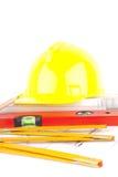 Bricks and Mason construction tools Royalty Free Stock Image