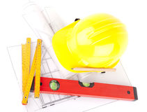 Bricks and Mason construction tools Stock Images