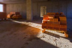 Bricks for new home construction Royalty Free Stock Images