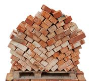Bricks for next building on wooden pallet Stock Photography