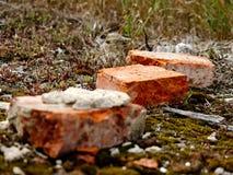 Bricks. Old bricks from a demolition stock photo