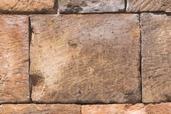 Bricks from old pink tuff in wall texture macro, selective focus, shallow DOF Royalty Free Stock Photos