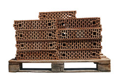 Bricks on pallet Royalty Free Stock Photo