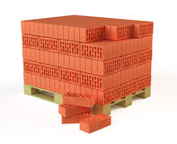 Bricks on Pallet. On white background Stock Photo