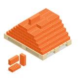 Bricks on pallet. Bricks building material. 3d flat vector isometric illustration. Stock Photo
