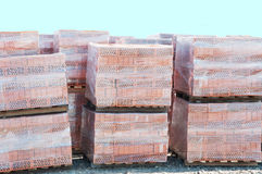 Bricks On Pallets Stock Photo