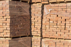 Bricks on pallets Stock Photos