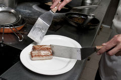 Bricks of prepared tuna fish. Put on white ceramic plate Royalty Free Stock Image