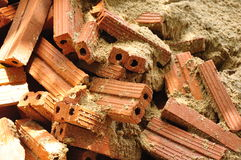 Bricks and sand. Construction materials by bricks,Thailand, Asia stock photos
