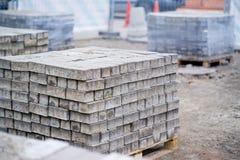 Bricks for sidewalk sweeping Royalty Free Stock Image