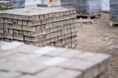 Bricks for sidewalk sweeping Stock Photos