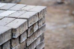 Bricks for sidewalk sweeping Stock Images