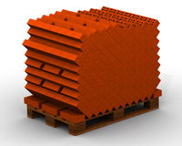 Bricks stacked on pallet Stock Image