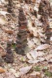Bricks stacked steeply. Royalty Free Stock Image