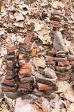 Bricks stacked steeply. Stock Images