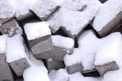 Bricks and Stones with snow. Some bricks with snow during winter Royalty Free Stock Photography